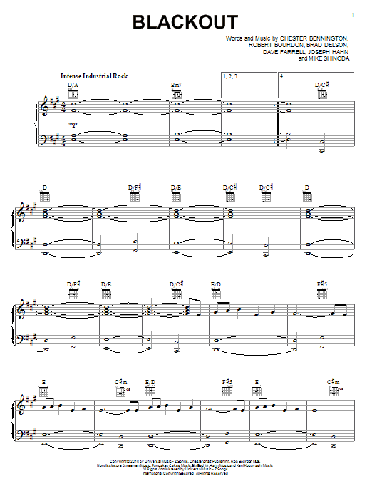 Linkin Park Blackout sheet music preview music notes and score for Piano, Vocal & Guitar (Right-Hand Melody) including 9 page(s)
