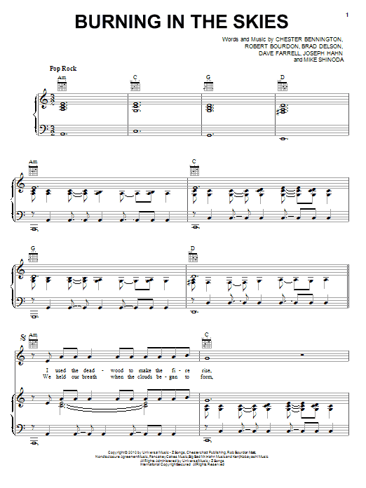 Linkin Park Burning In The Skies sheet music preview music notes and score for Piano, Vocal & Guitar (Right-Hand Melody) including 8 page(s)