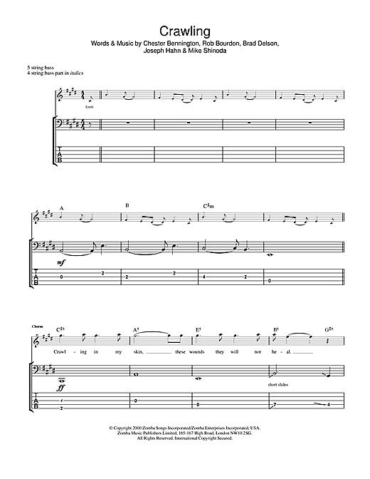 Linkin Park Crawling sheet music notes and chords