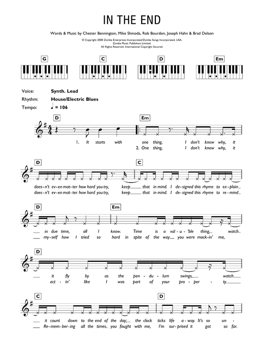Linkin Park In The End sheet music preview music notes and score for Keyboard including 3 page(s)