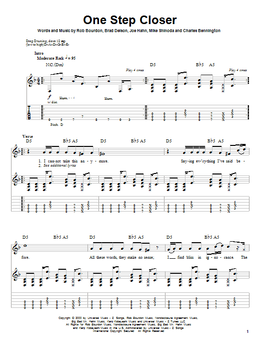 Linkin Park One Step Closer sheet music preview music notes and score for Bass Guitar Tab including 4 page(s)