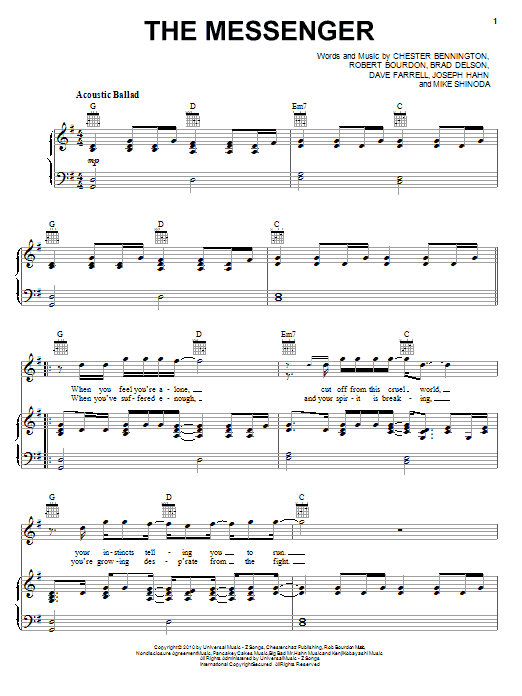 Linkin Park The Messenger sheet music preview music notes and score for Piano, Vocal & Guitar (Right-Hand Melody) including 4 page(s)