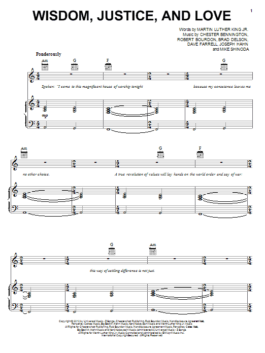 Linkin Park Wisdom, Justice, And Love sheet music preview music notes and score for Piano, Vocal & Guitar (Right-Hand Melody) including 3 page(s)
