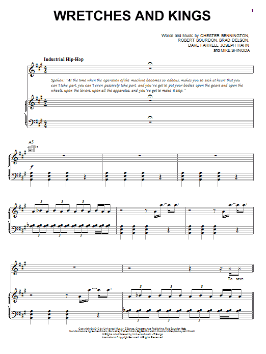 Linkin Park Wretches And Kings sheet music preview music notes and score for Piano, Vocal & Guitar (Right-Hand Melody) including 7 page(s)