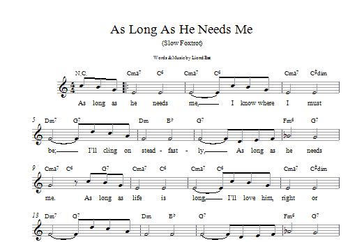 Lionel Bart As Long As He Needs Me sheet music preview music notes and score for Easy Piano including 2 page(s)