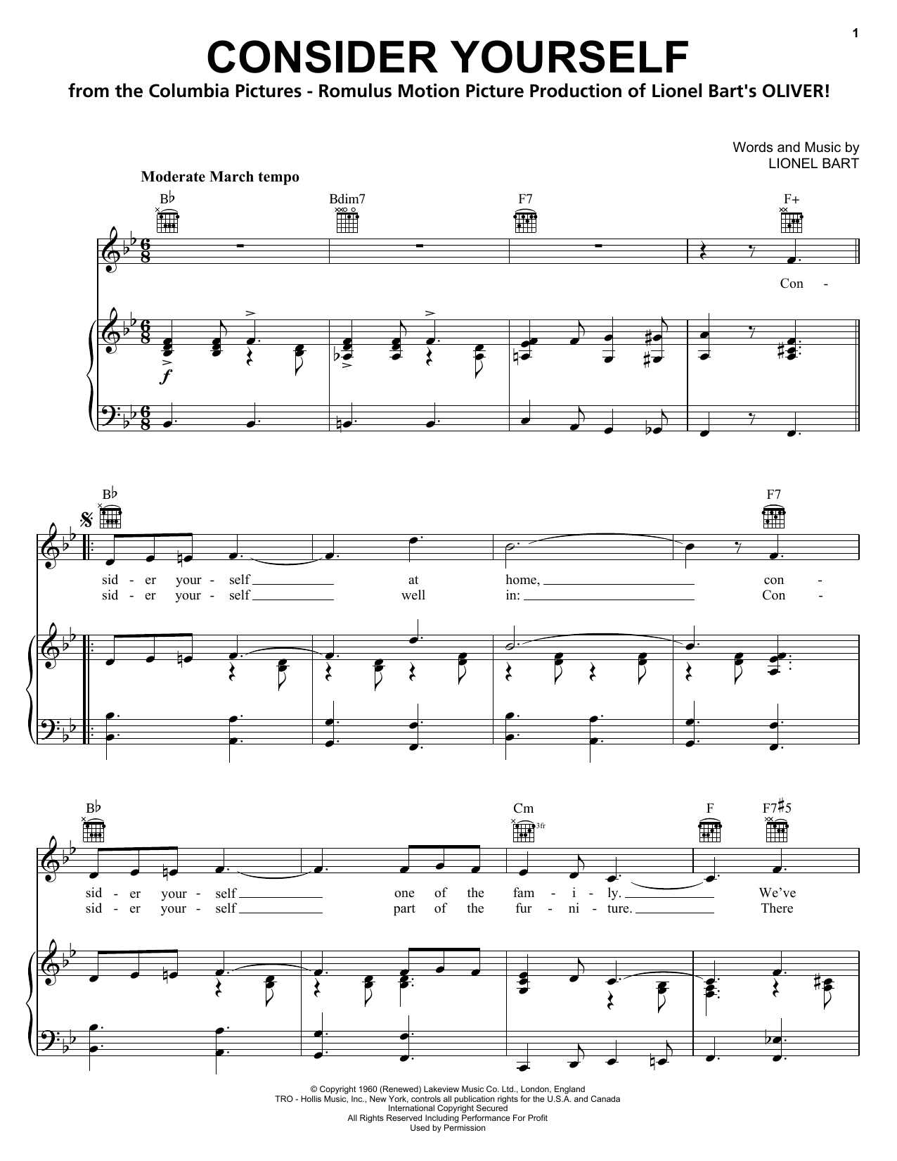 Lionel Bart Consider Yourself sheet music notes and chords