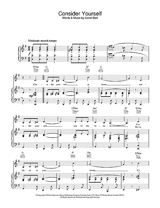 Lionel Bart Consider Yourself (from Oliver!) sheet music notes and chords