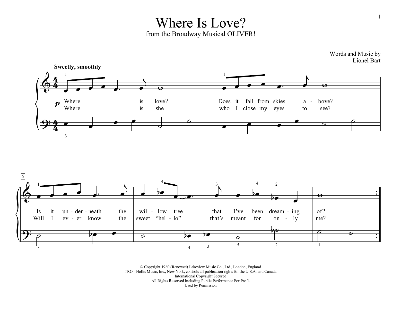 Lionel Bart Where Is Love? (from Oliver!) (arr. Christopher Hussey) sheet music preview music notes and score for Educational Piano including 2 page(s)
