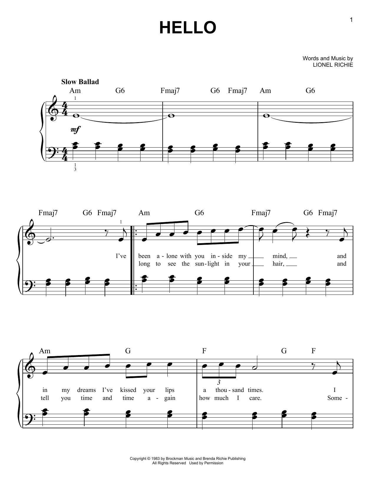 Lionel Richie Hello sheet music notes and chords