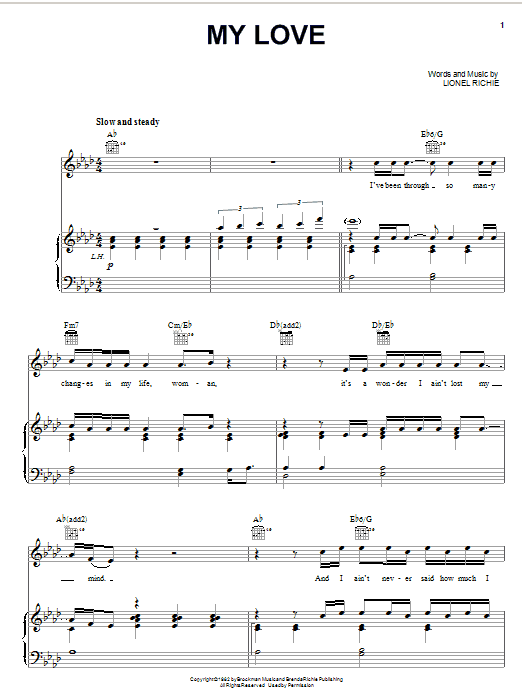 Lionel Richie My Love sheet music notes and chords