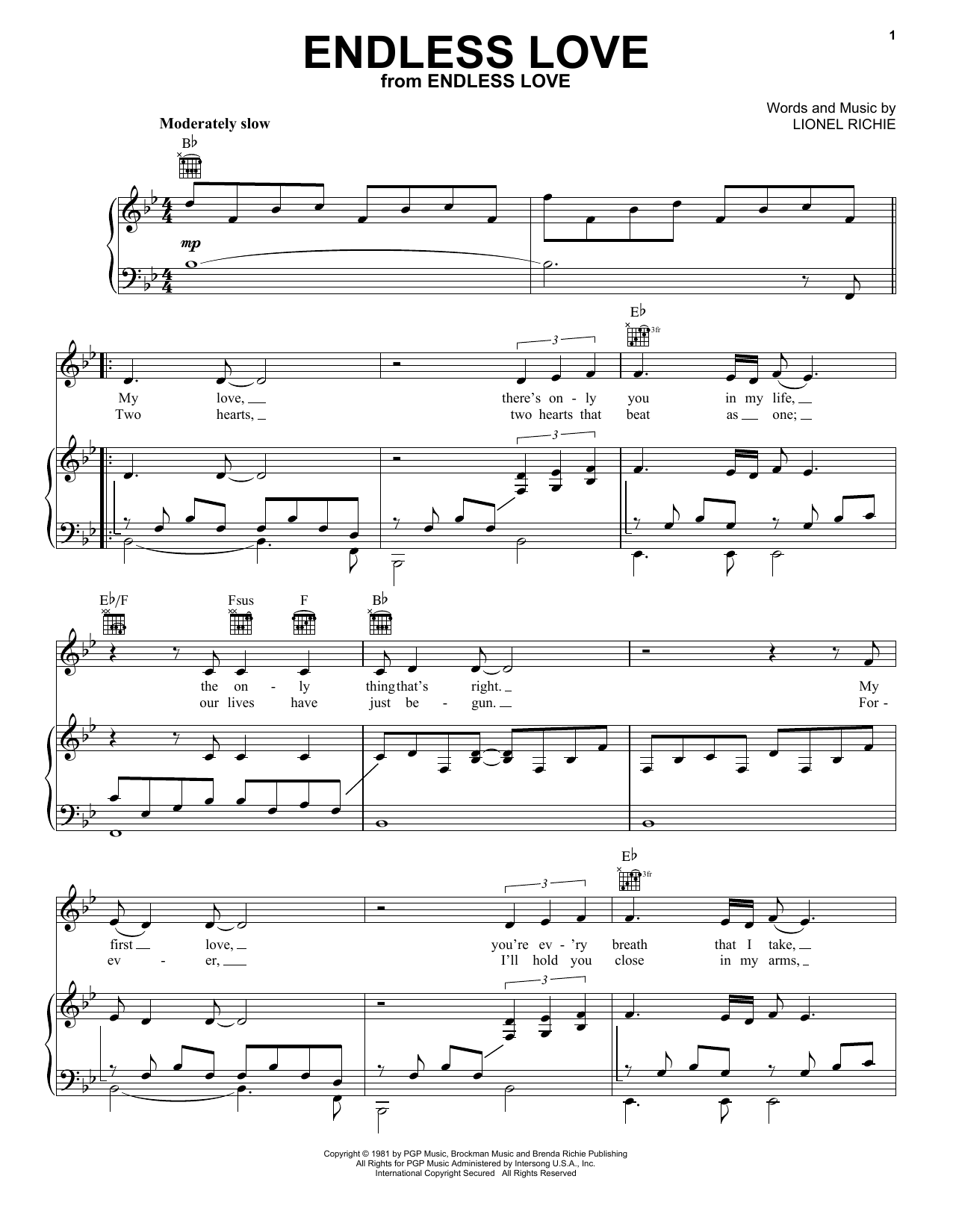 Lionel Richie & Diana Ross Endless Love sheet music preview music notes and score for Piano, Vocal & Guitar (Right-Hand Melody) including 6 page(s)