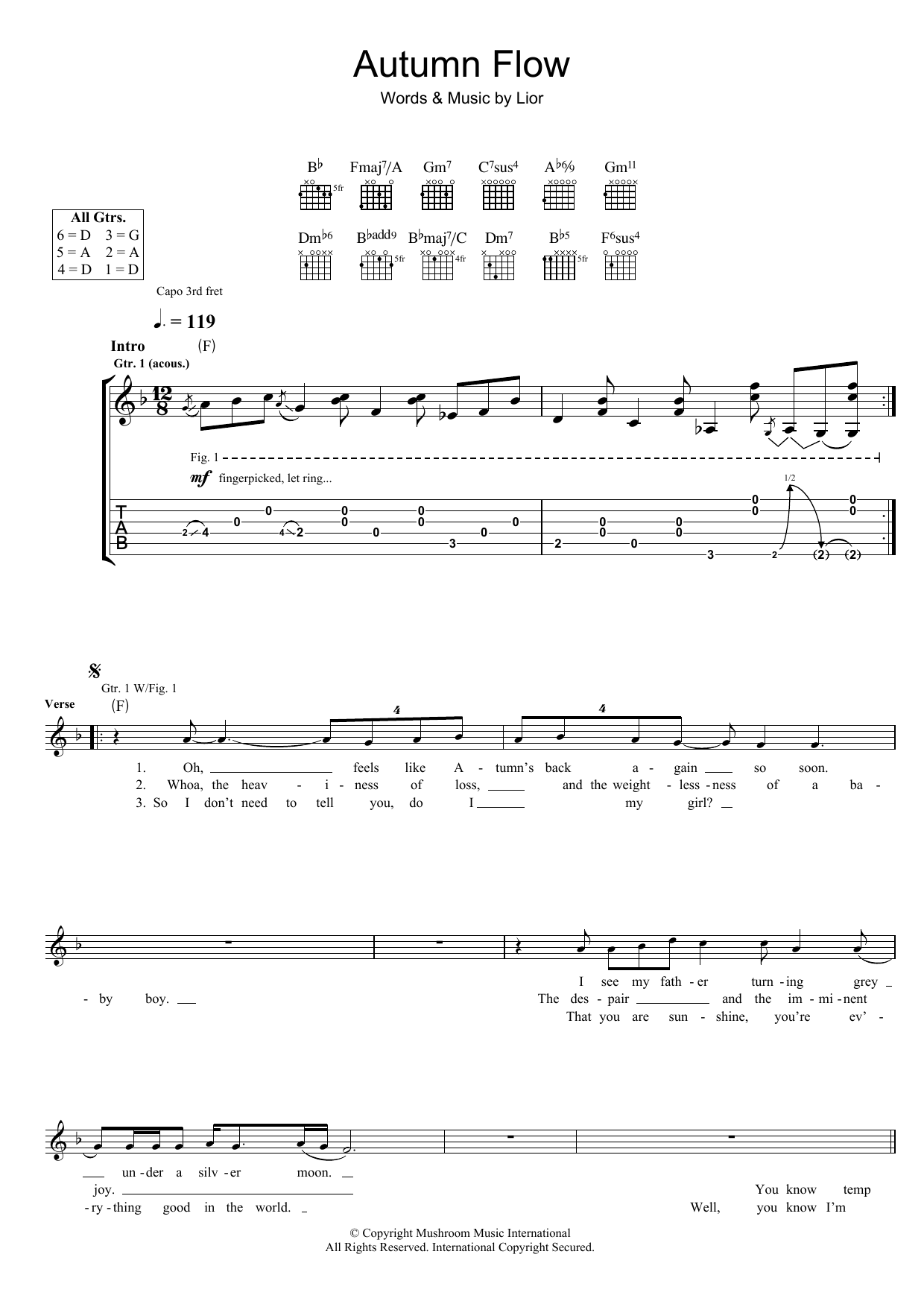 Lior Autumn Flow sheet music preview music notes and score for Guitar Tab including 4 page(s)