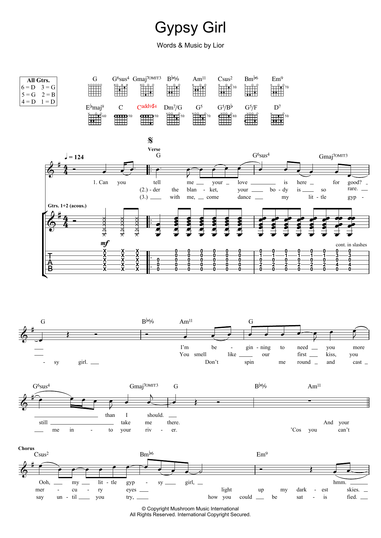 Lior Gypsy Girl sheet music preview music notes and score for Guitar Tab including 3 page(s)