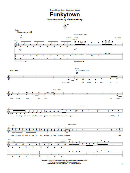 Lipps Inc. Funkytown sheet music preview music notes and score for Guitar Tab including 4 page(s)