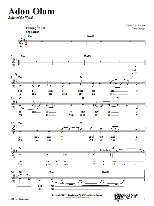 Lisa Levine Adon Olam sheet music preview music notes and score for Melody Line, Lyrics & Chords including 3 page(s)