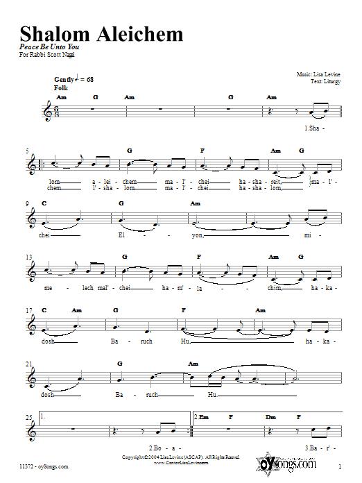 Lisa Levine Shalom Aleichem sheet music notes and chords