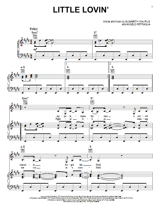 Lissie Little Lovin' sheet music preview music notes and score for Piano, Vocal & Guitar (Right-Hand Melody) including 7 page(s)