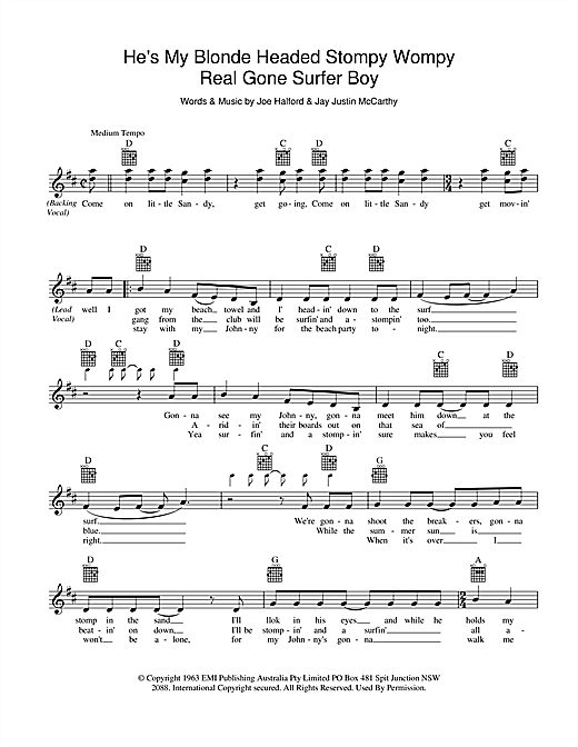 Little Pattie He's My Blonde Headed Stompy Wompy Real Gone Surfer Boy sheet music preview music notes and score for Melody Line, Lyrics & Chords including 2 page(s)