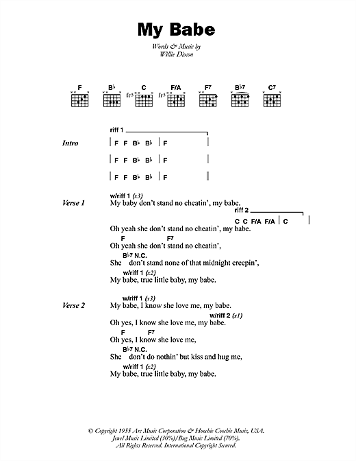 Little Walter My Babe sheet music preview music notes and score for Guitar Tab including 2 page(s)