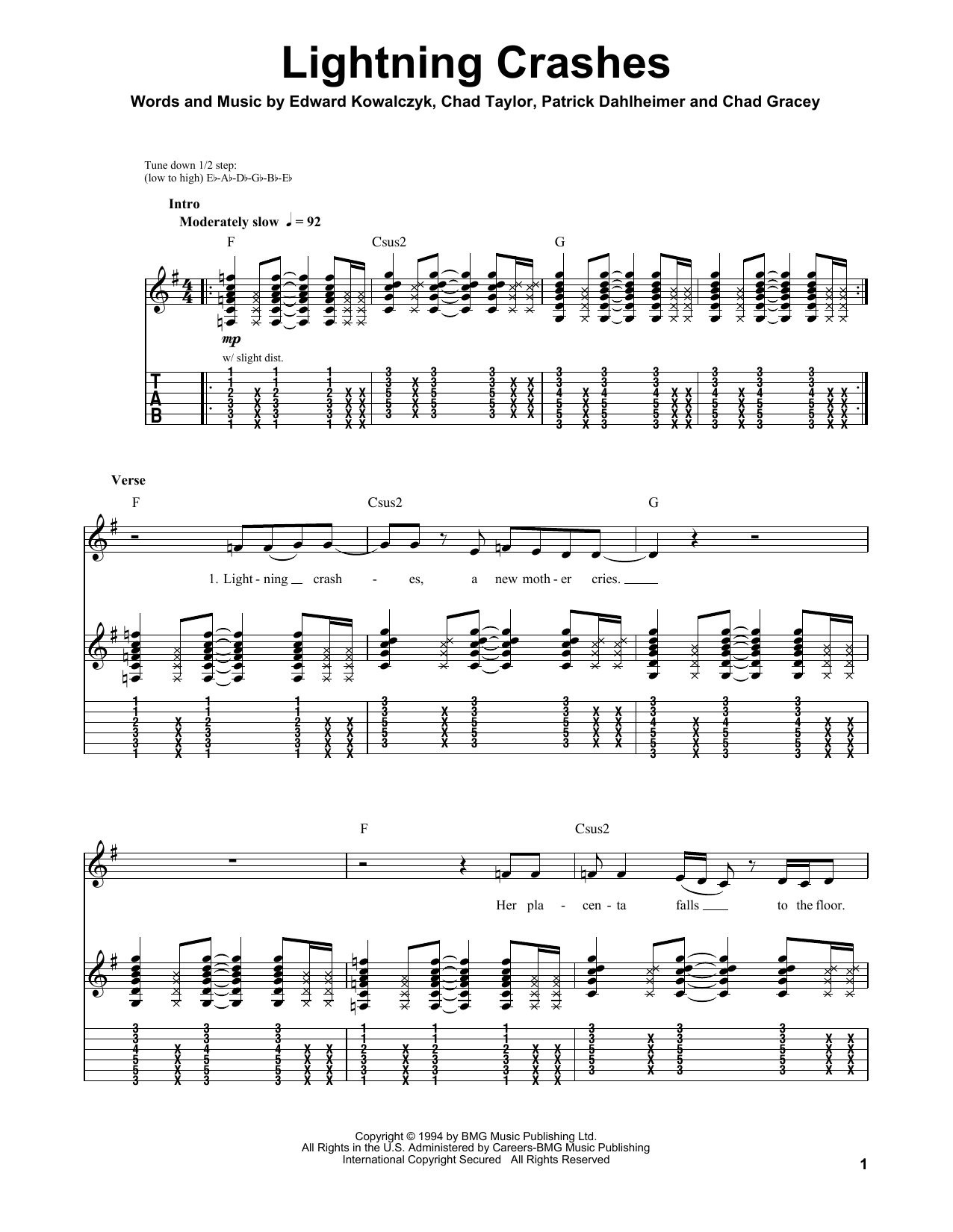 Live Lightning Crashes sheet music preview music notes and score for Guitar Tab including 7 page(s)