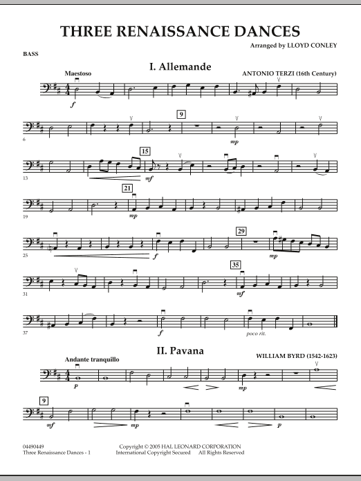 Download Lloyd Conley 'Three Renaissance Dances - Bass' Digital Sheet Music Notes & Chords and start playing in minutes