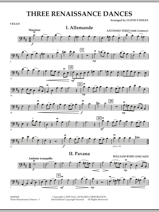 Download Lloyd Conley 'Three Renaissance Dances - Cello' Digital Sheet Music Notes & Chords and start playing in minutes
