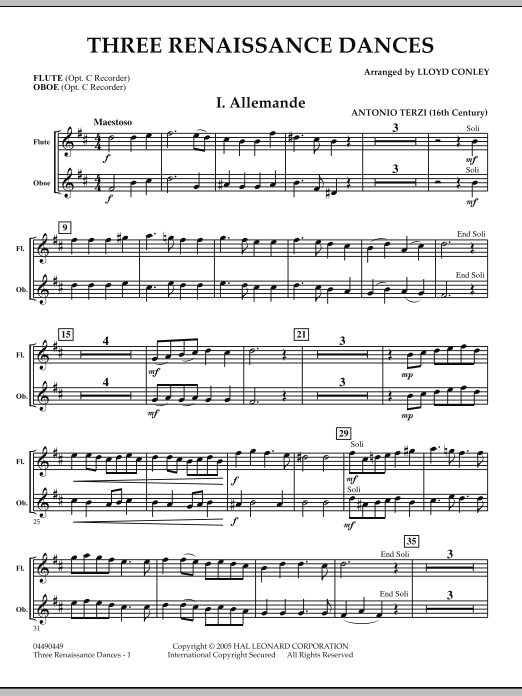 Download Lloyd Conley 'Three Renaissance Dances - Flute/Oboe' Digital Sheet Music Notes & Chords and start playing in minutes