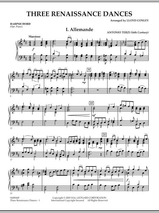 Download Lloyd Conley 'Three Renaissance Dances - Harpsichord' Digital Sheet Music Notes & Chords and start playing in minutes