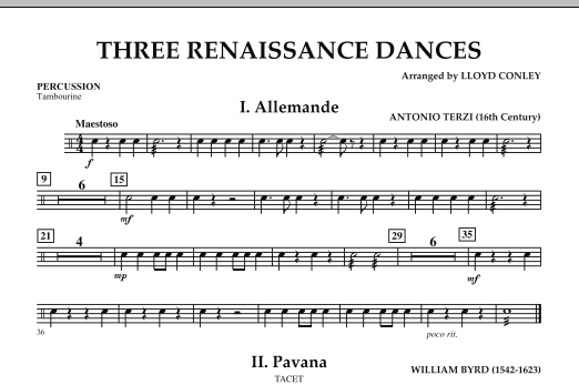 Download Lloyd Conley 'Three Renaissance Dances - Percussion' Digital Sheet Music Notes & Chords and start playing in minutes