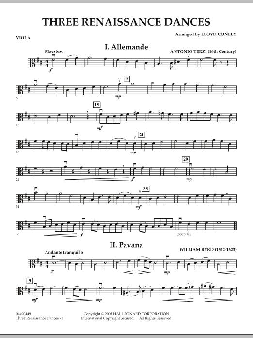 Download Lloyd Conley 'Three Renaissance Dances - Viola' Digital Sheet Music Notes & Chords and start playing in minutes