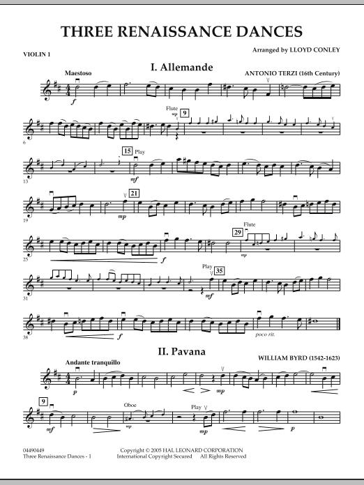 Download Lloyd Conley 'Three Renaissance Dances - Violin 1' Digital Sheet Music Notes & Chords and start playing in minutes