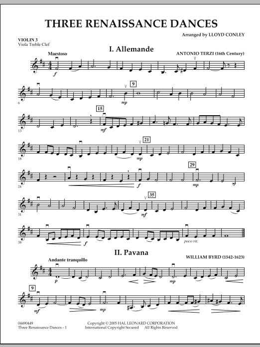 Download Lloyd Conley 'Three Renaissance Dances - Violin 3 (Viola Treble Clef)' Digital Sheet Music Notes & Chords and start playing in minutes