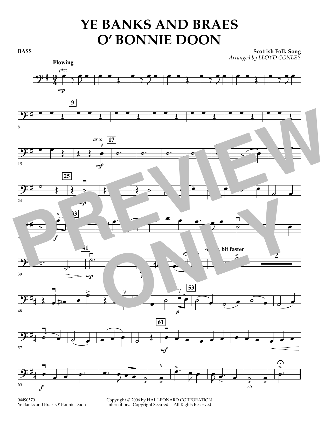 Lloyd Conley Ye Banks and Braes O' Bonnie Doon - Bass sheet music preview music notes and score for Orchestra including 1 page(s)