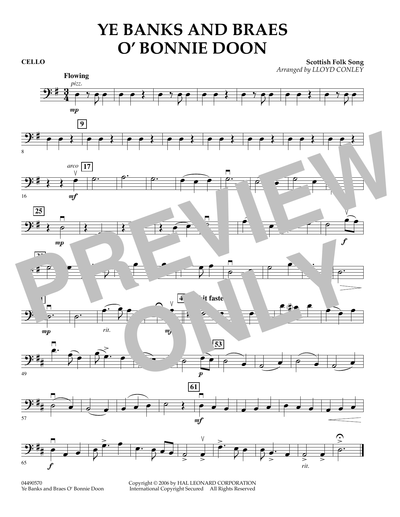 Lloyd Conley Ye Banks and Braes O' Bonnie Doon - Cello sheet music preview music notes and score for Orchestra including 1 page(s)