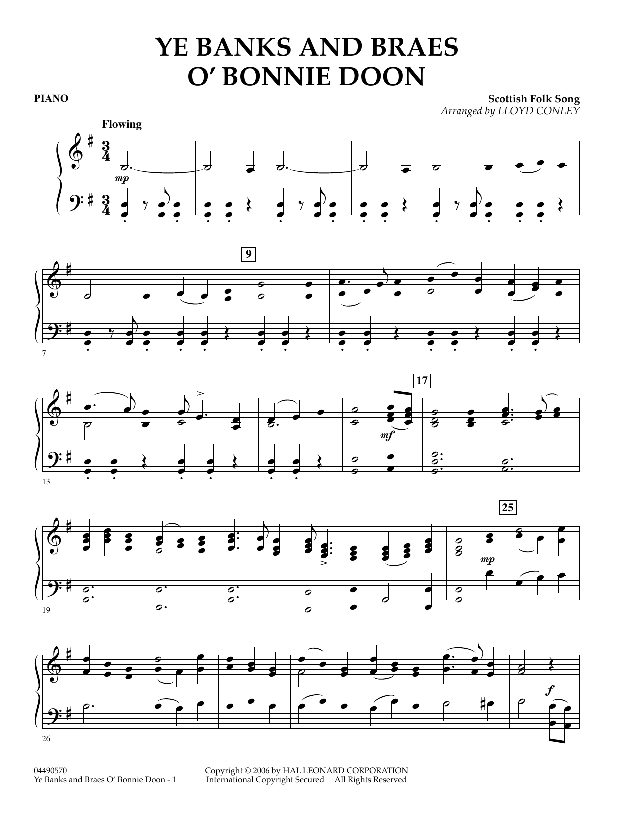 Lloyd Conley Ye Banks and Braes O' Bonnie Doon - Piano sheet music preview music notes and score for Orchestra including 2 page(s)