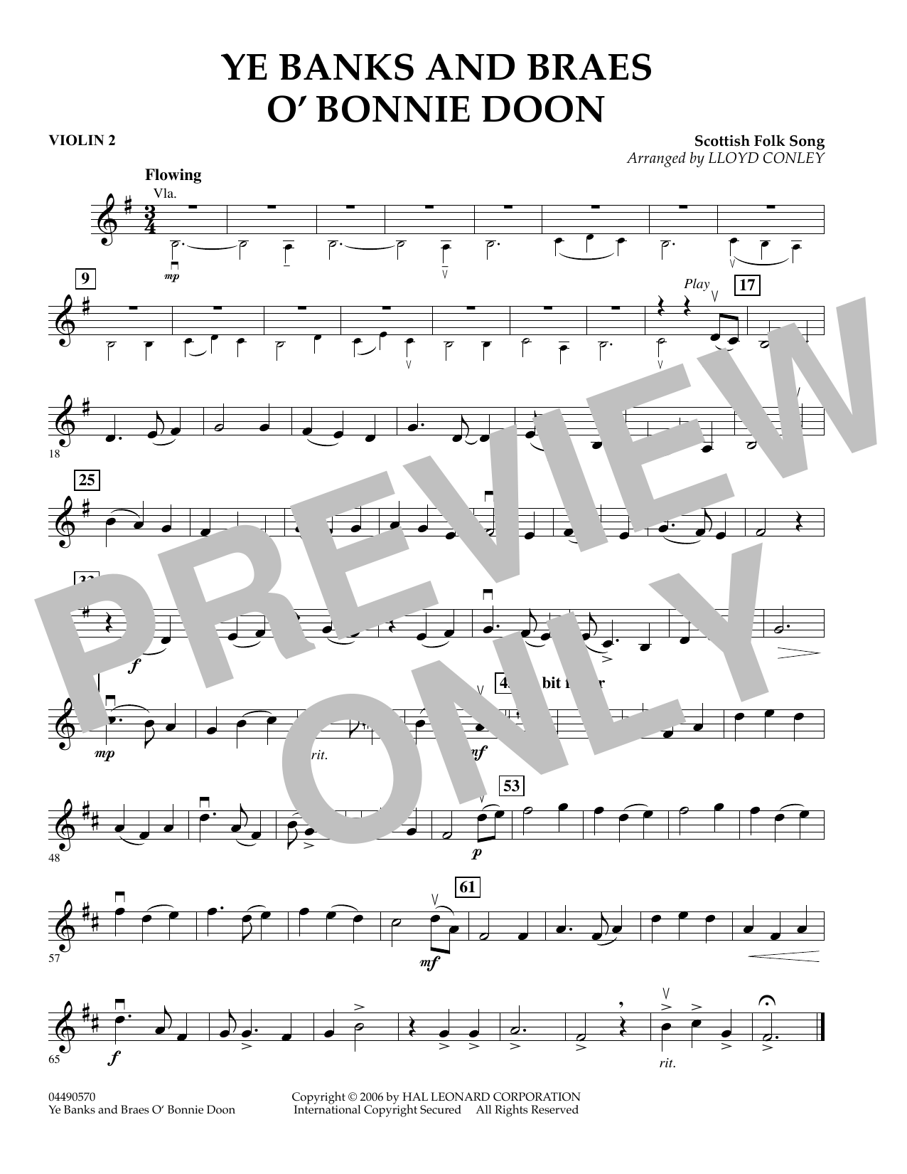 Lloyd Conley Ye Banks and Braes O' Bonnie Doon - Violin 2 sheet music preview music notes and score for Orchestra including 1 page(s)