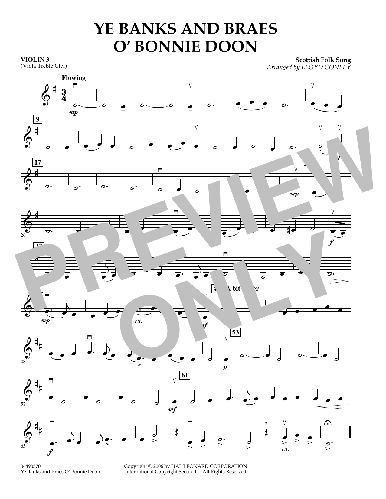 Lloyd Conley Ye Banks and Braes O' Bonnie Doon - Violin 3 (Viola Treble Clef) sheet music preview music notes and score for Orchestra including 1 page(s)