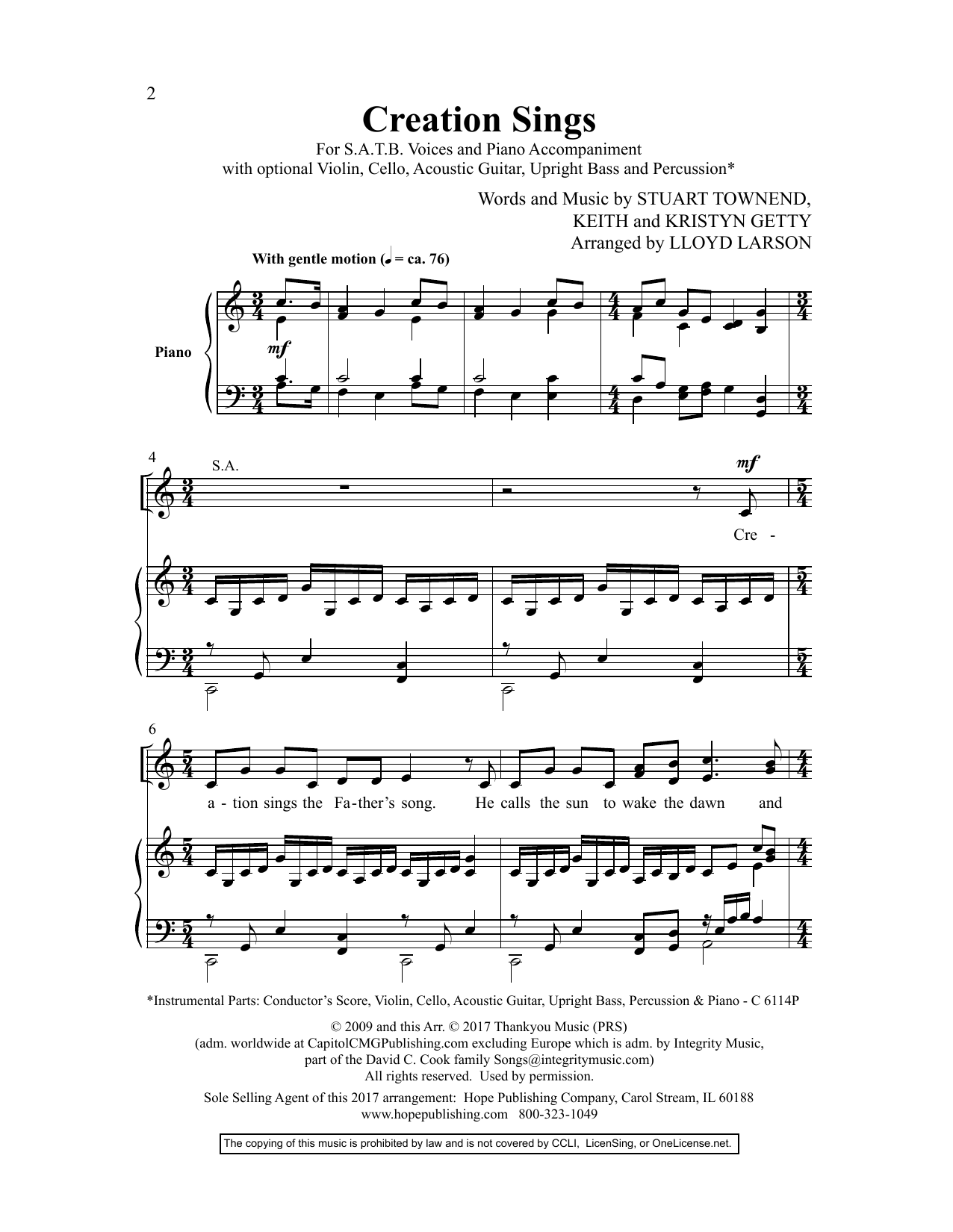 Lloyd Larson Creation Sings sheet music preview music notes and score for SATB Choir including 12 page(s)
