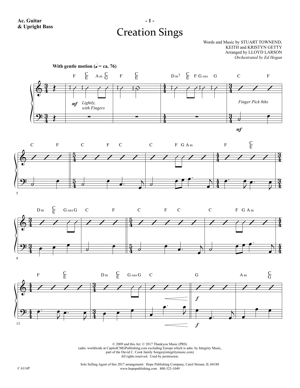 Lloyd Larson Creation Sings - Acoustic Guitar/Electric Bass sheet music preview music notes and score for Choir Instrumental Pak including 4 page(s)