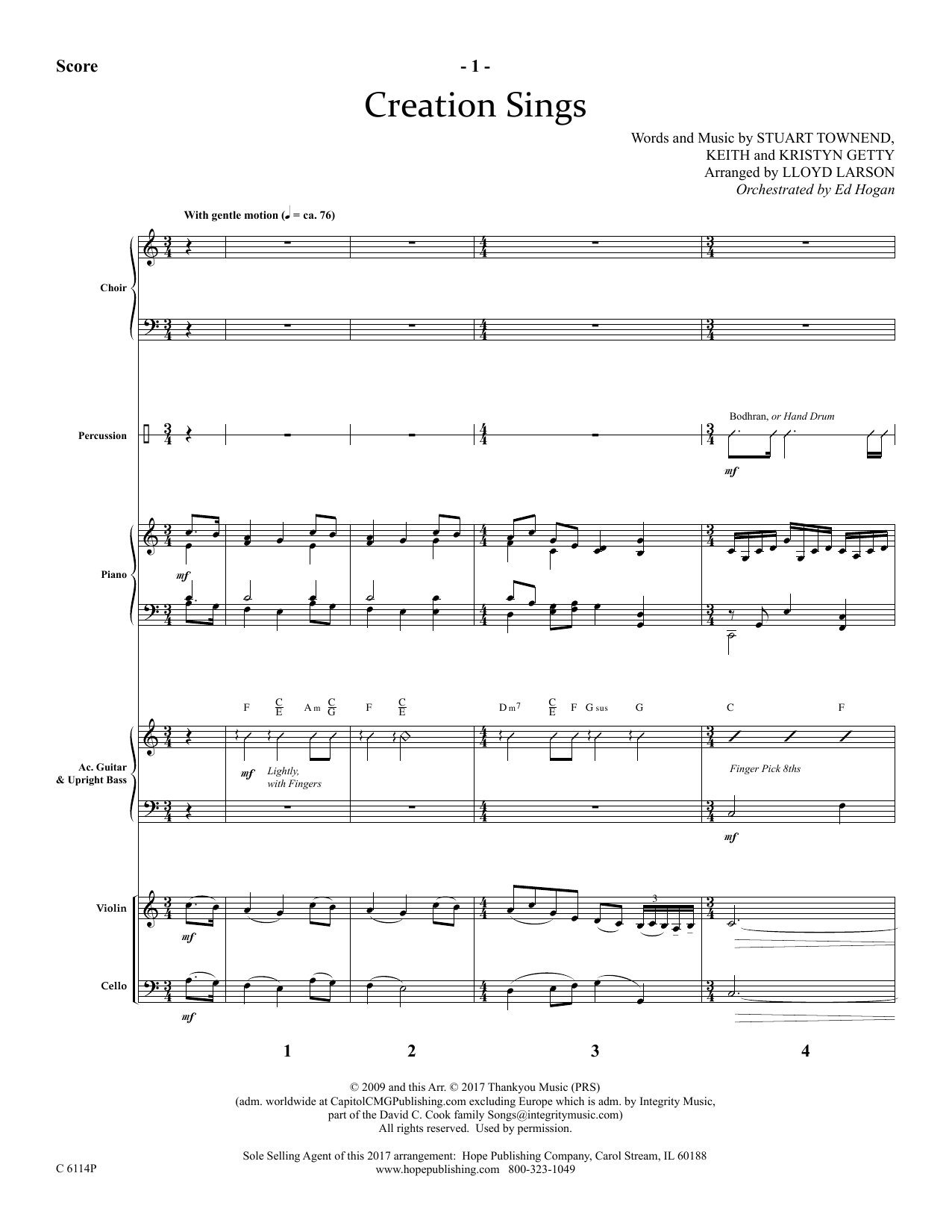 Lloyd Larson Creation Sings - Full Score sheet music preview music notes and score for Choir Instrumental Pak including 22 page(s)