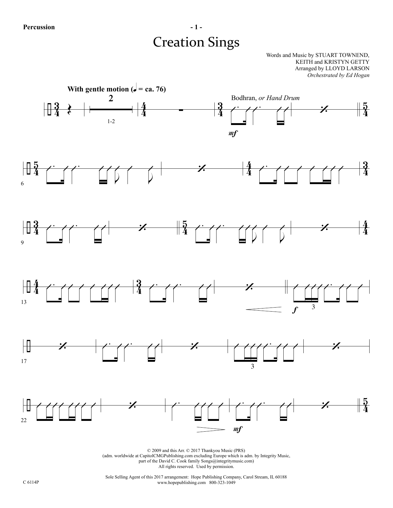 Lloyd Larson Creation Sings - Percussion sheet music preview music notes and score for Choir Instrumental Pak including 3 page(s)