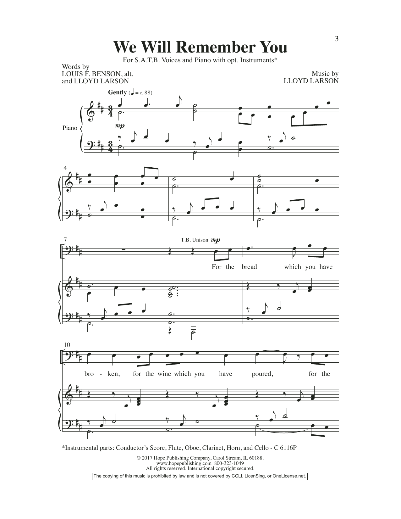 Lloyd Larson We Will Remember You sheet music preview music notes and score for SATB Choir including 10 page(s)