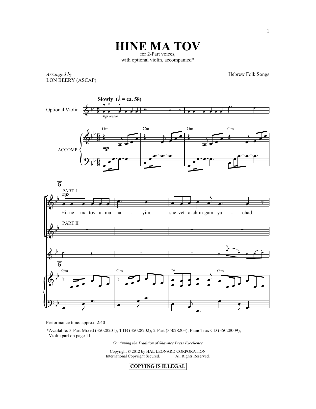 Lon Beery Hineh Ma Tov sheet music preview music notes and score for 3-Part Mixed including 10 page(s)