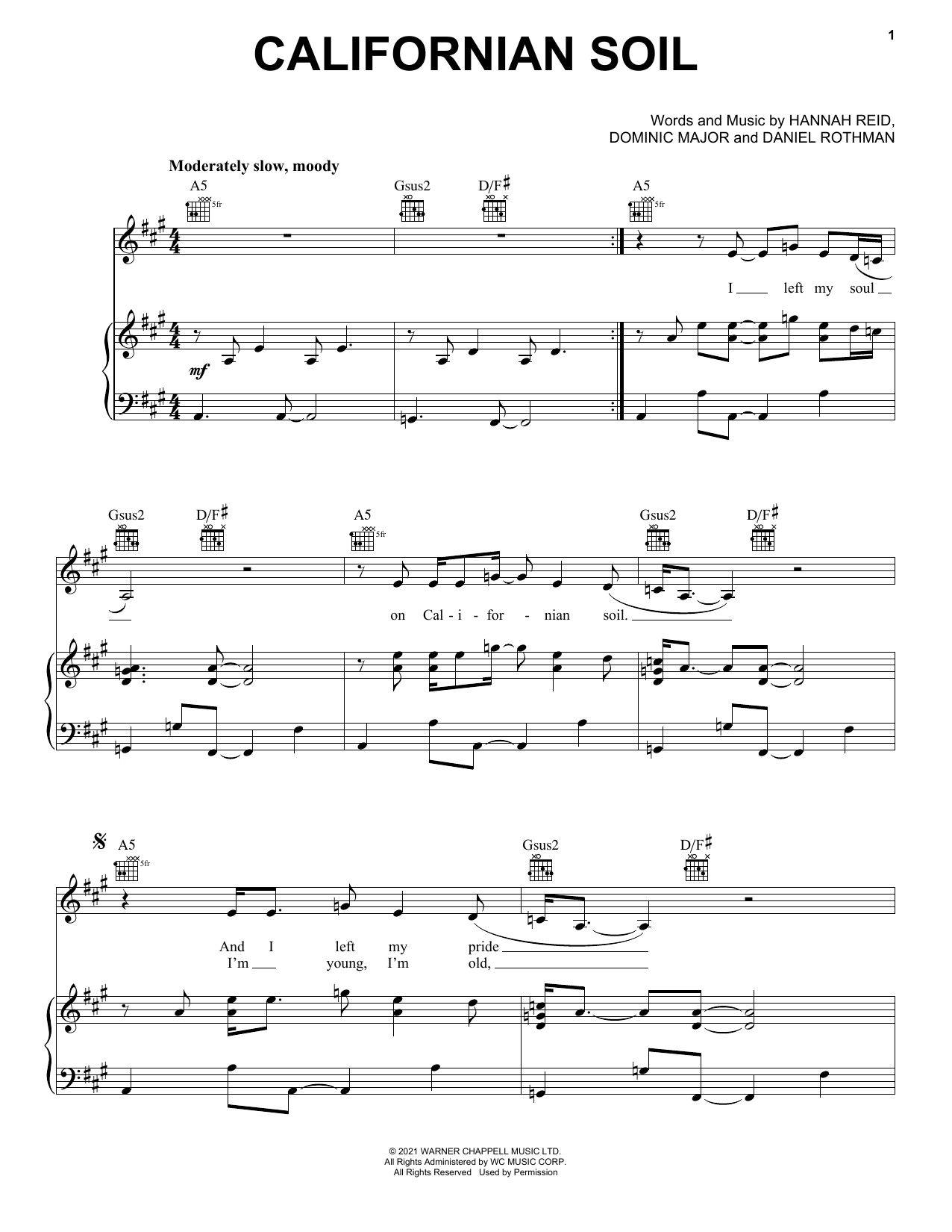London Grammar Californian Soil sheet music preview music notes and score for Piano, Vocal & Guitar (Right-Hand Melody) including 4 page(s)