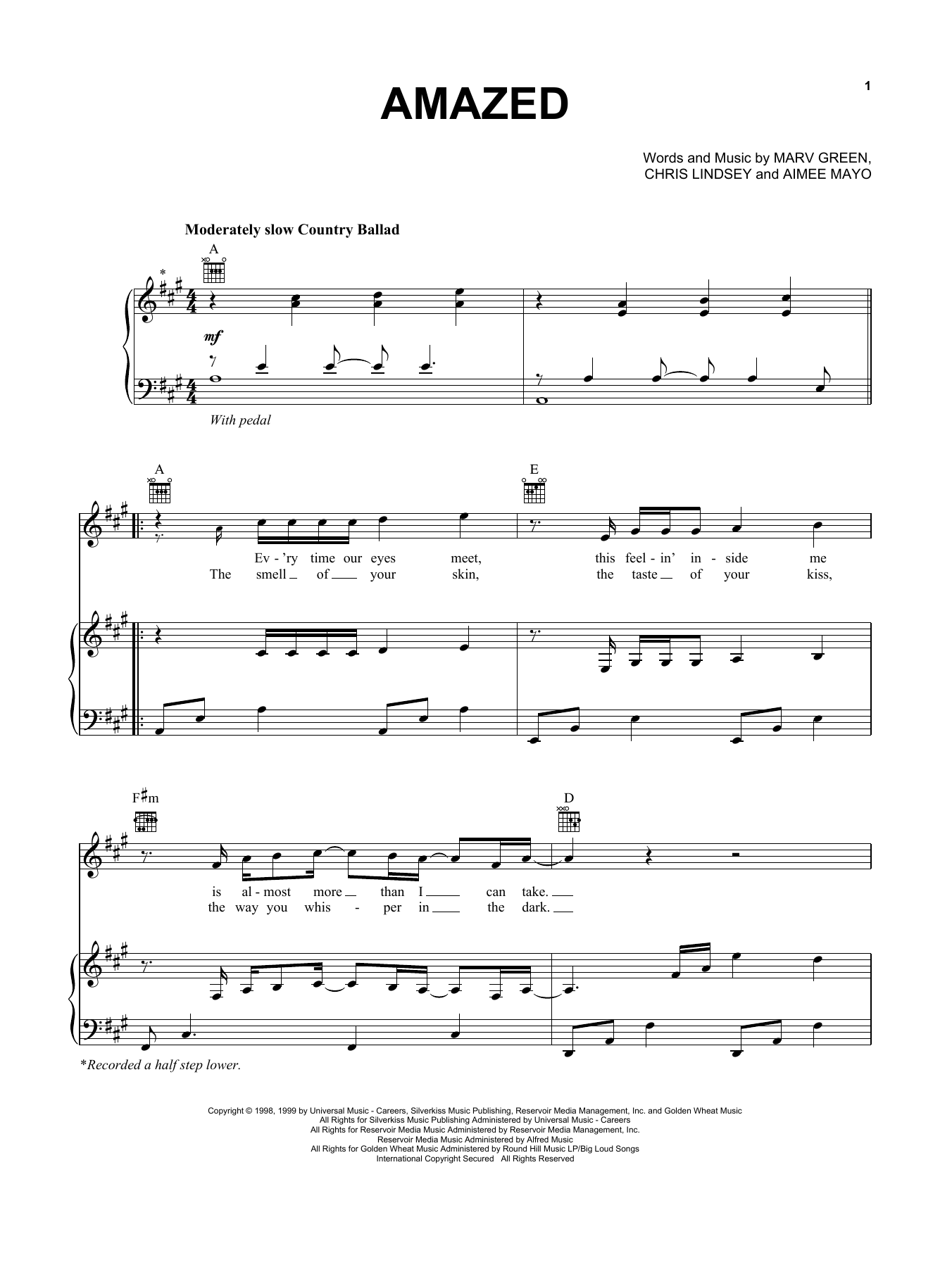 Lonestar Amazed sheet music preview music notes and score for Easy Guitar including 3 page(s)