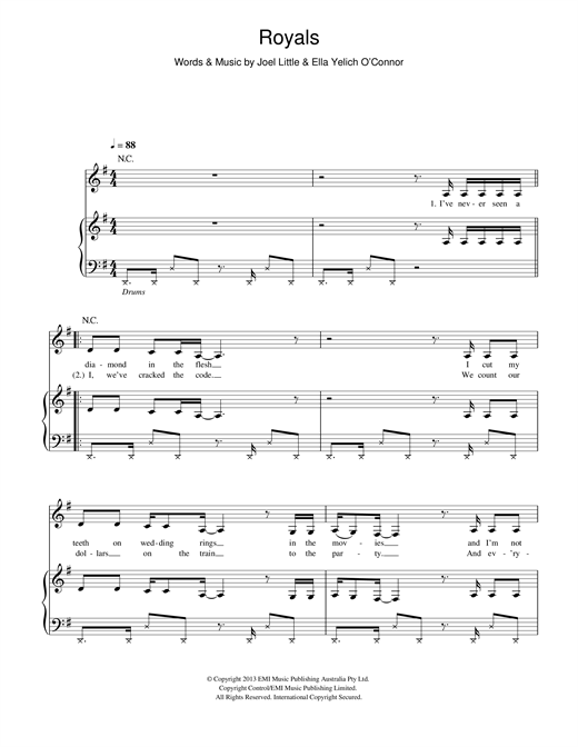 Lorde Royals sheet music preview music notes and score for E-Z Play Today including 4 page(s)