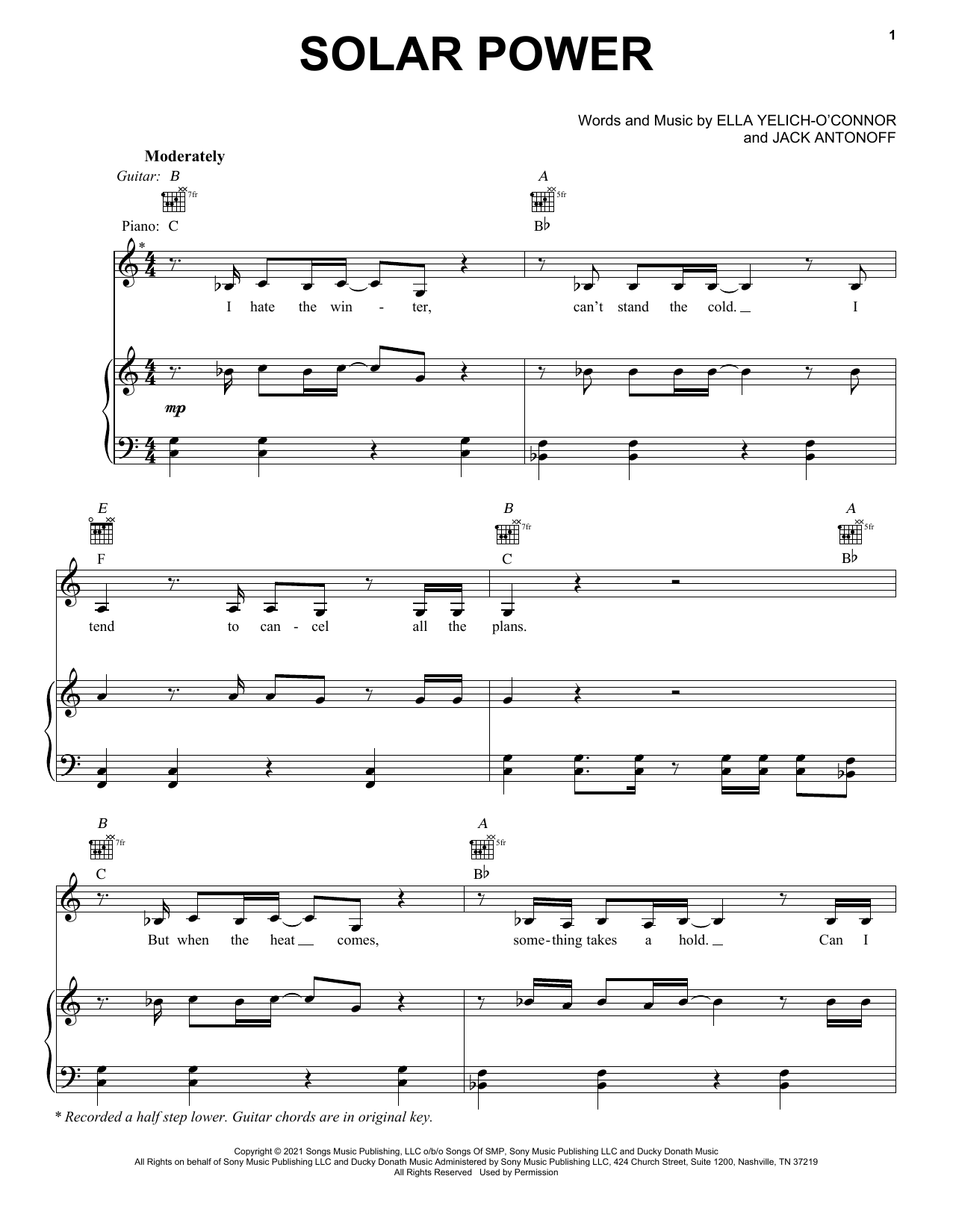 Lorde Solar Power sheet music preview music notes and score for Piano, Vocal & Guitar (Right-Hand Melody) including 6 page(s)