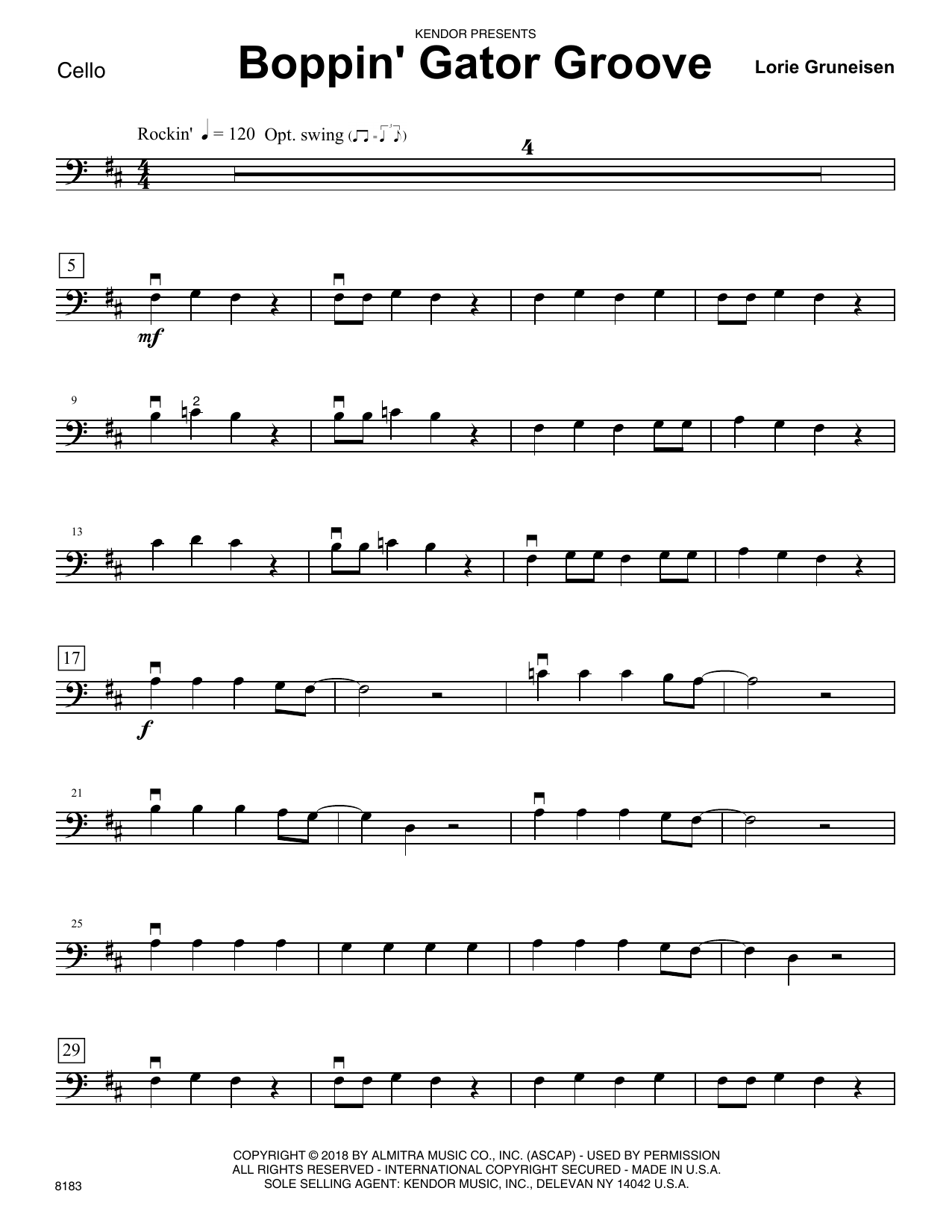 Lorie Gruneisen Boppin' Gator Groove - Cello sheet music preview music notes and score for Orchestra including 2 page(s)