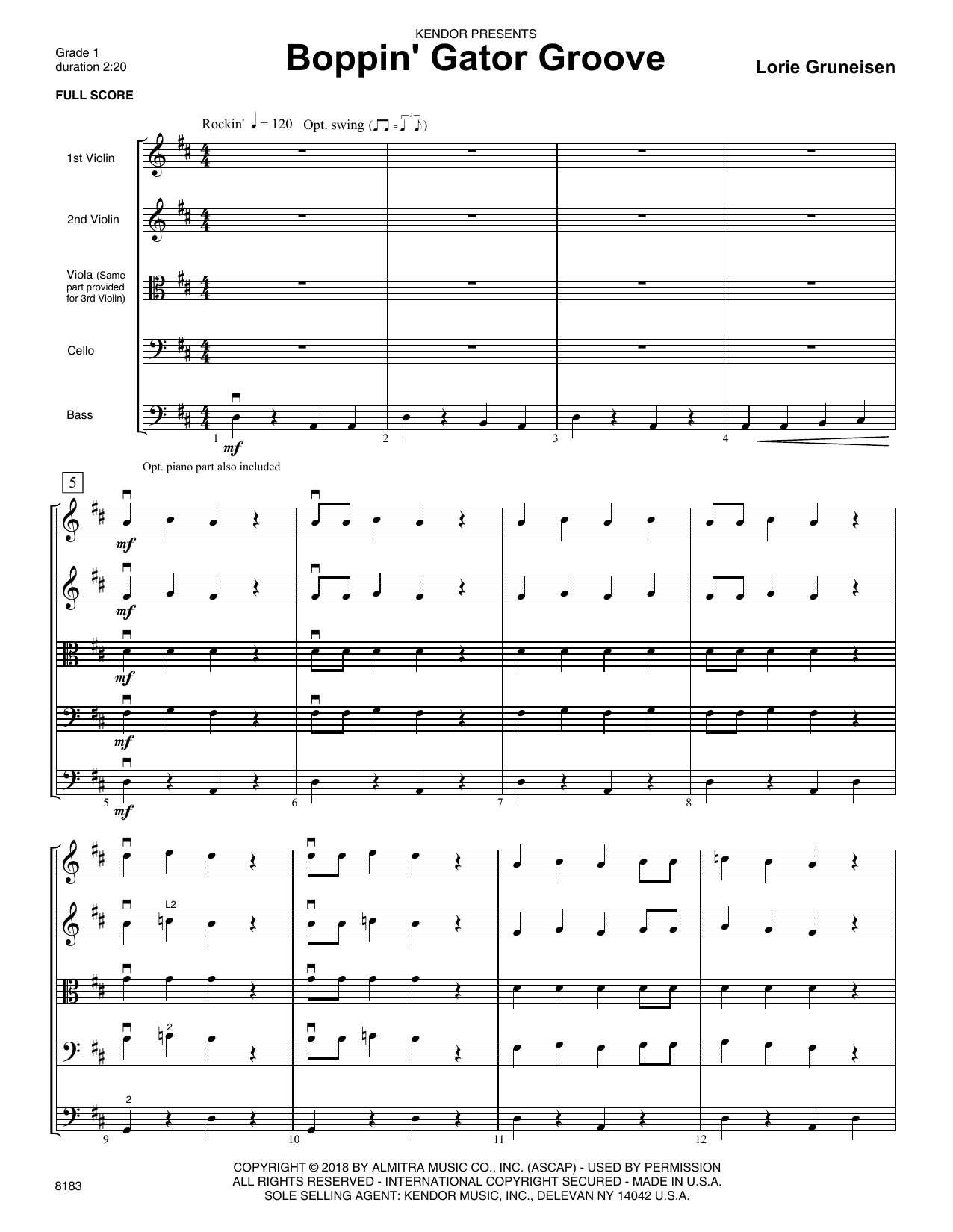 Lorie Gruneisen Boppin' Gator Groove - Full Score sheet music preview music notes and score for Orchestra including 7 page(s)