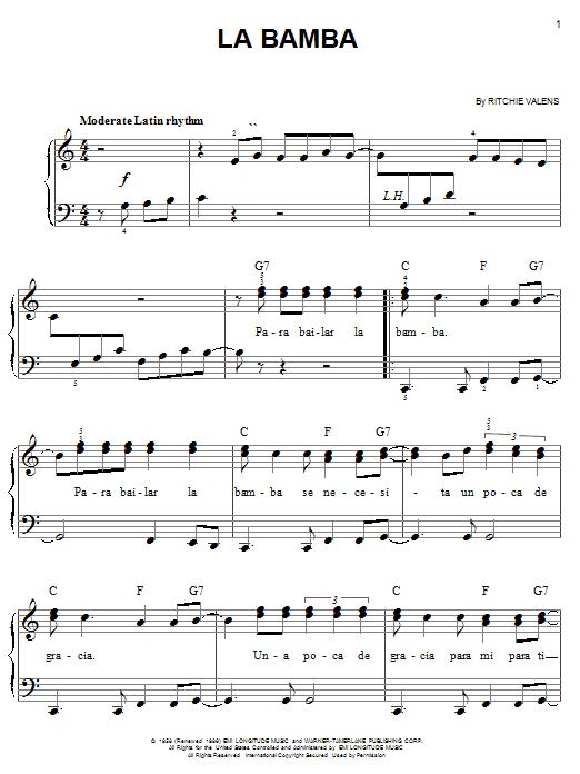 Los Lobos La Bamba sheet music notes and chords